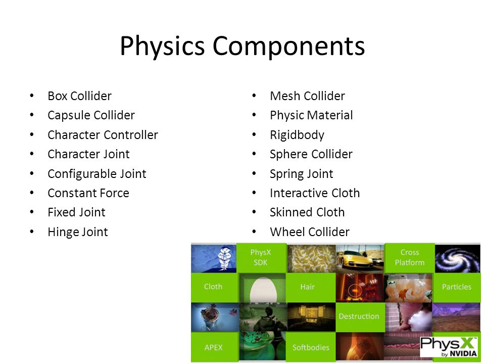 Physics Components Box Collider Capsule Collider Character Controller