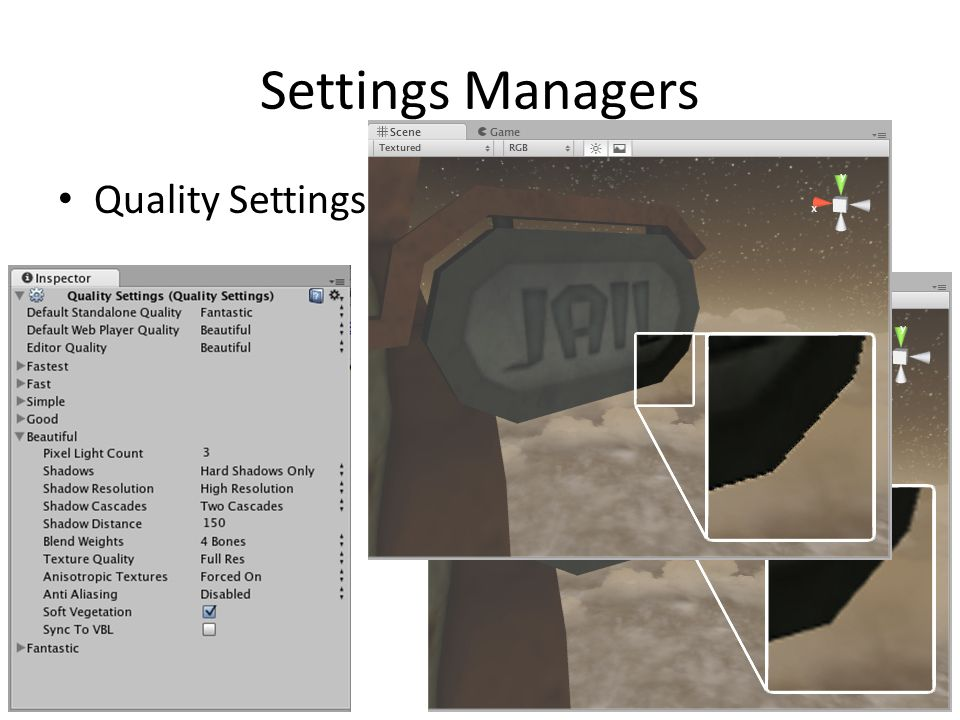 Settings Managers Quality Settings