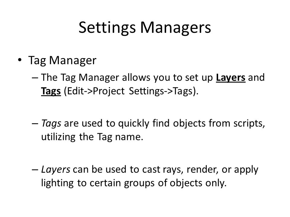 Settings Managers Tag Manager