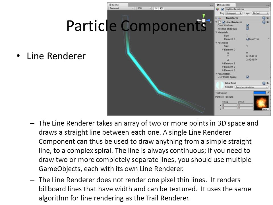 Particle Components Line Renderer