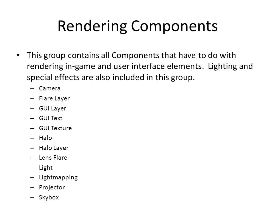 Rendering Components