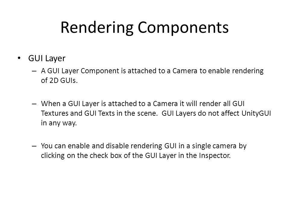 Rendering Components GUI Layer