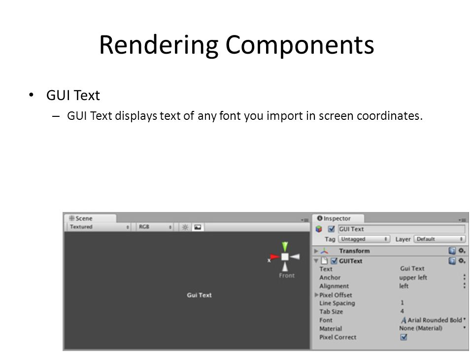 Rendering Components GUI Text