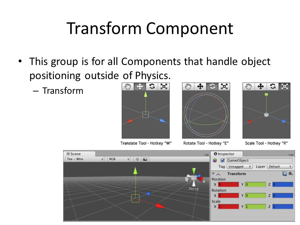 Transform Component This group is for all Components that handle object positioning outside of Physics.