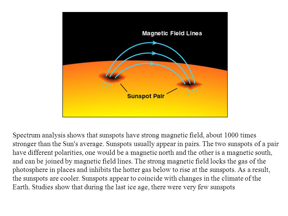 Spectrum analysis shows that sunspots have strong magnetic field, about 1000 times stronger than the Sun s average.
