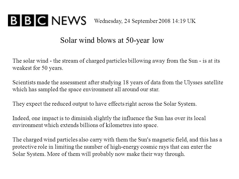 Solar wind blows at 50-year low