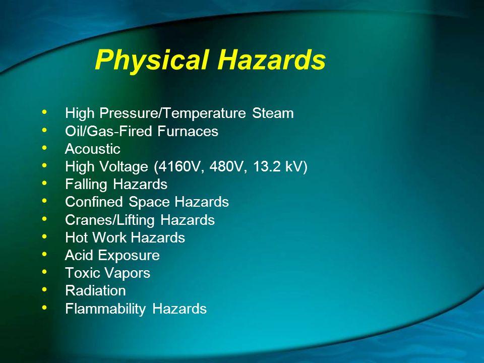 Physical Hazards High Pressure/Temperature Steam