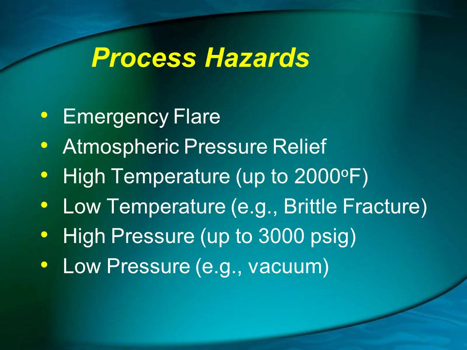 Process Hazards Emergency Flare Atmospheric Pressure Relief