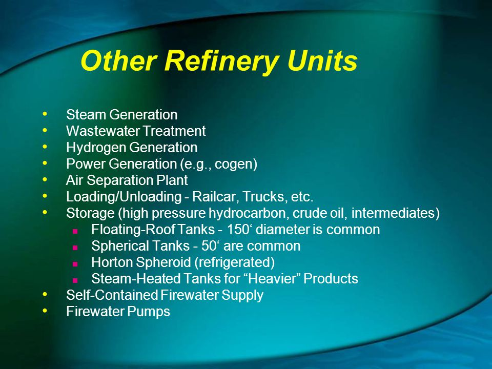 Other Refinery Units Steam Generation Wastewater Treatment
