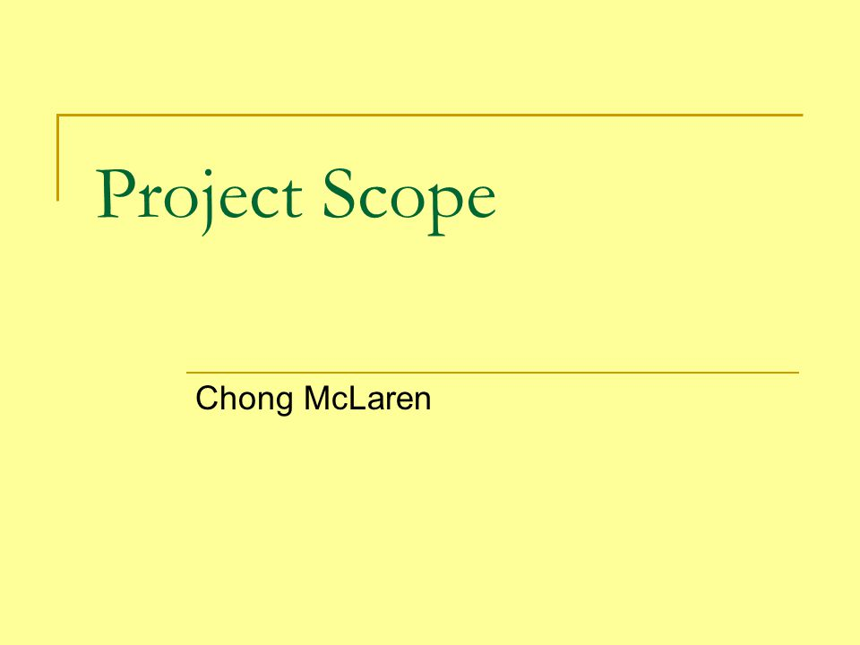 Project Scope Chong McLaren