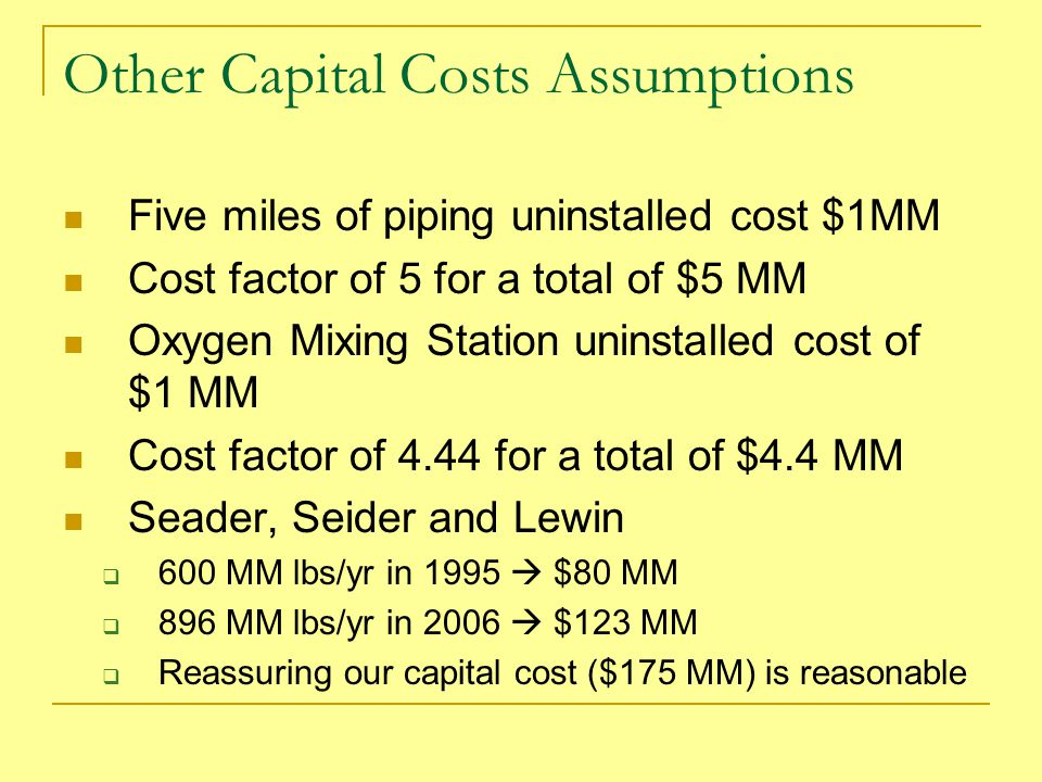 Other Capital Costs Assumptions