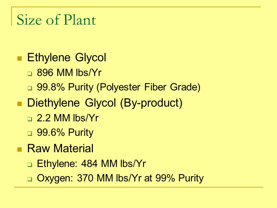 Size of Plant Ethylene Glycol Diethylene Glycol (By-product)