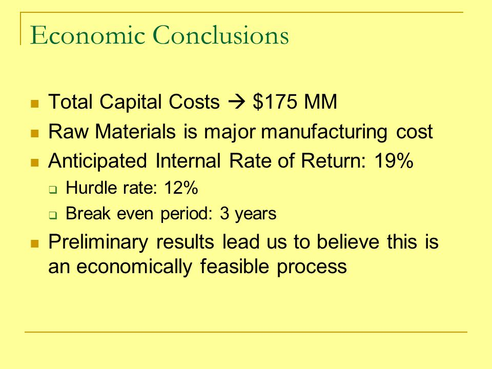 Economic Conclusions Total Capital Costs  $175 MM