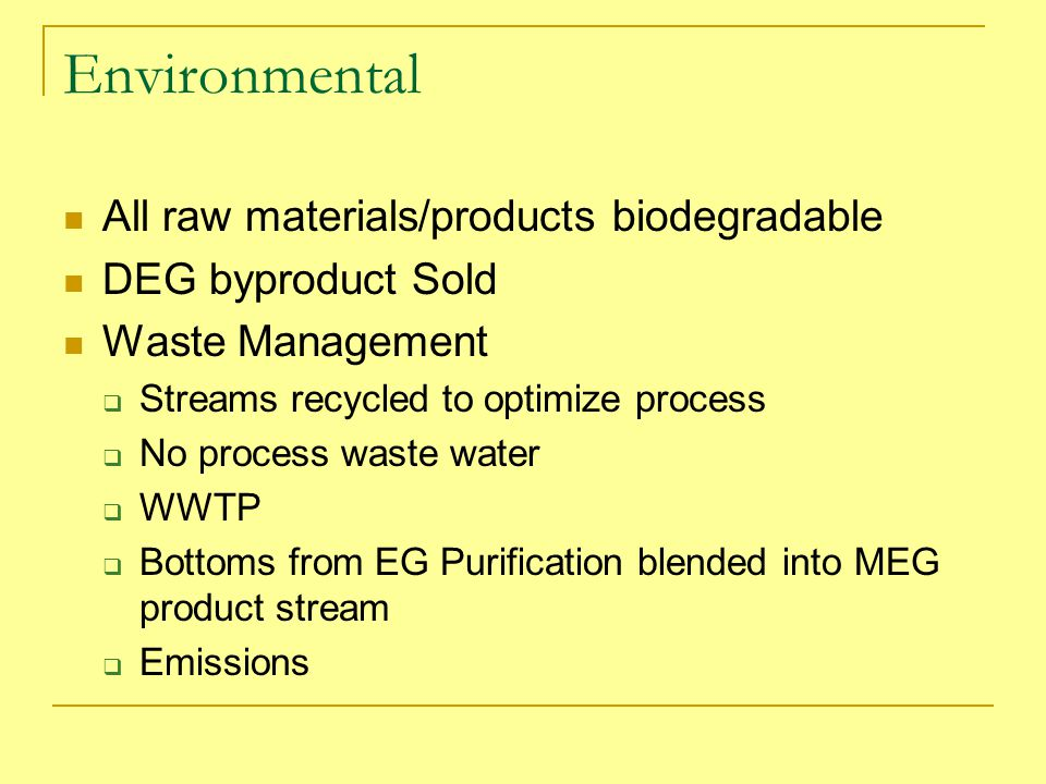 Environmental All raw materials/products biodegradable