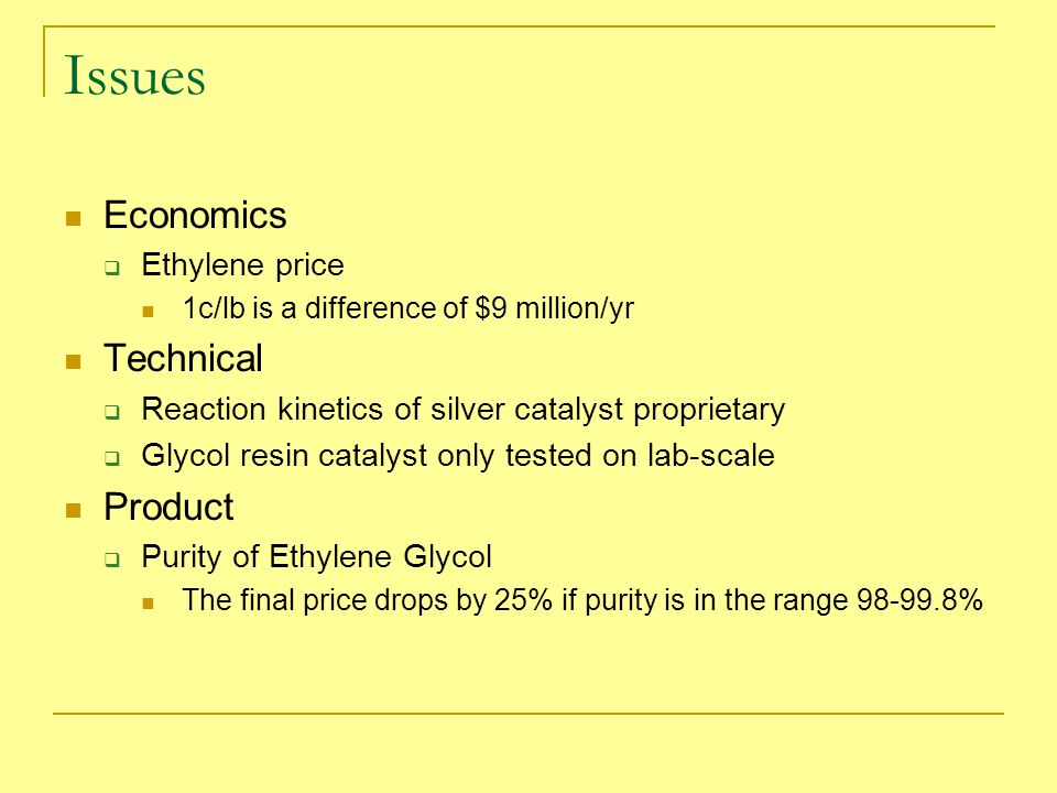 Issues Economics Technical Product Ethylene price