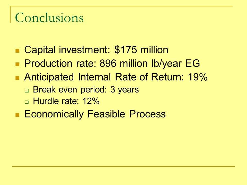 Conclusions Capital investment: $175 million