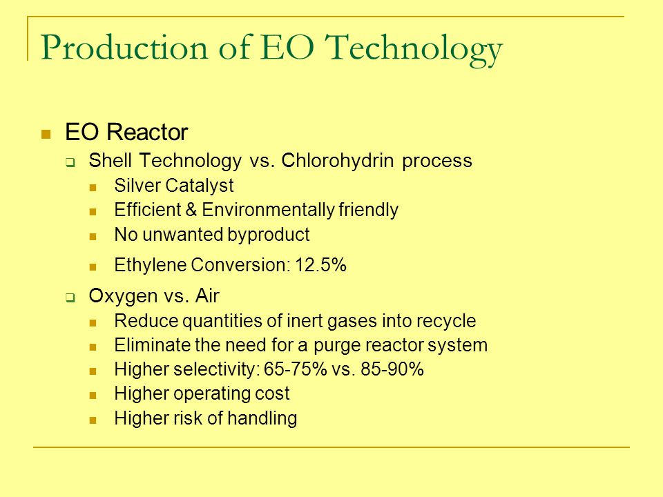 Production of EO Technology