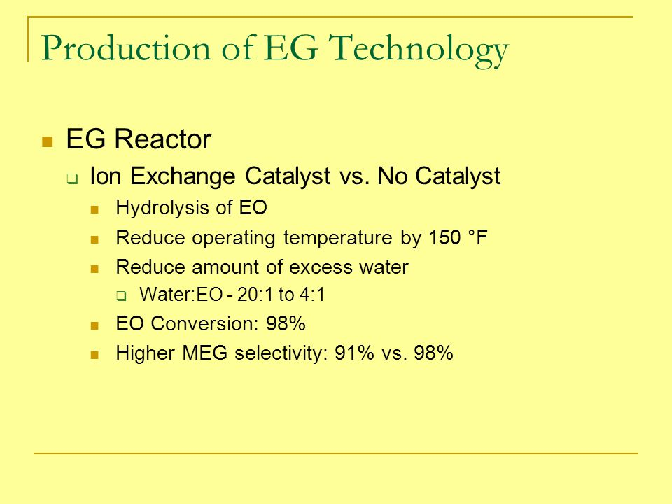 Production of EG Technology