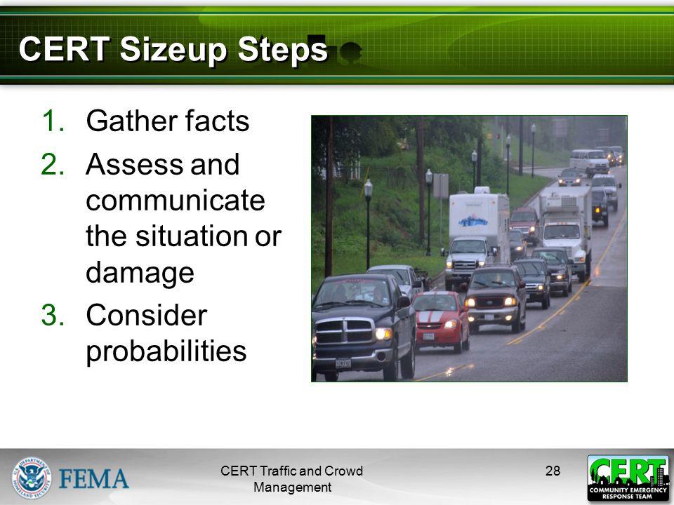 CERT Sizeup Steps (cont'd)