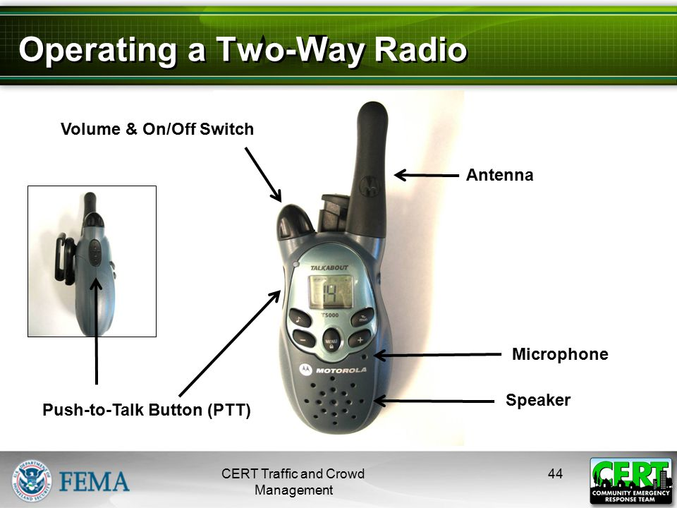 Operating a Two-Way Radio (cont'd)