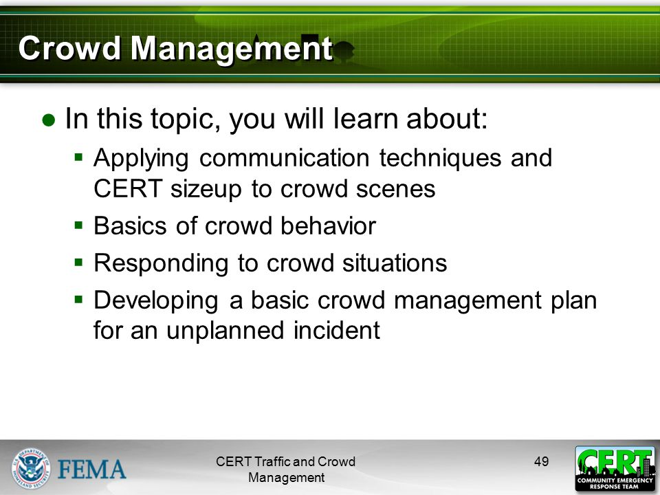 CERT Role in Management of Crowds