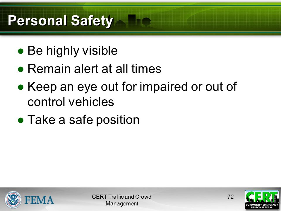 Personal Safety (cont'd)