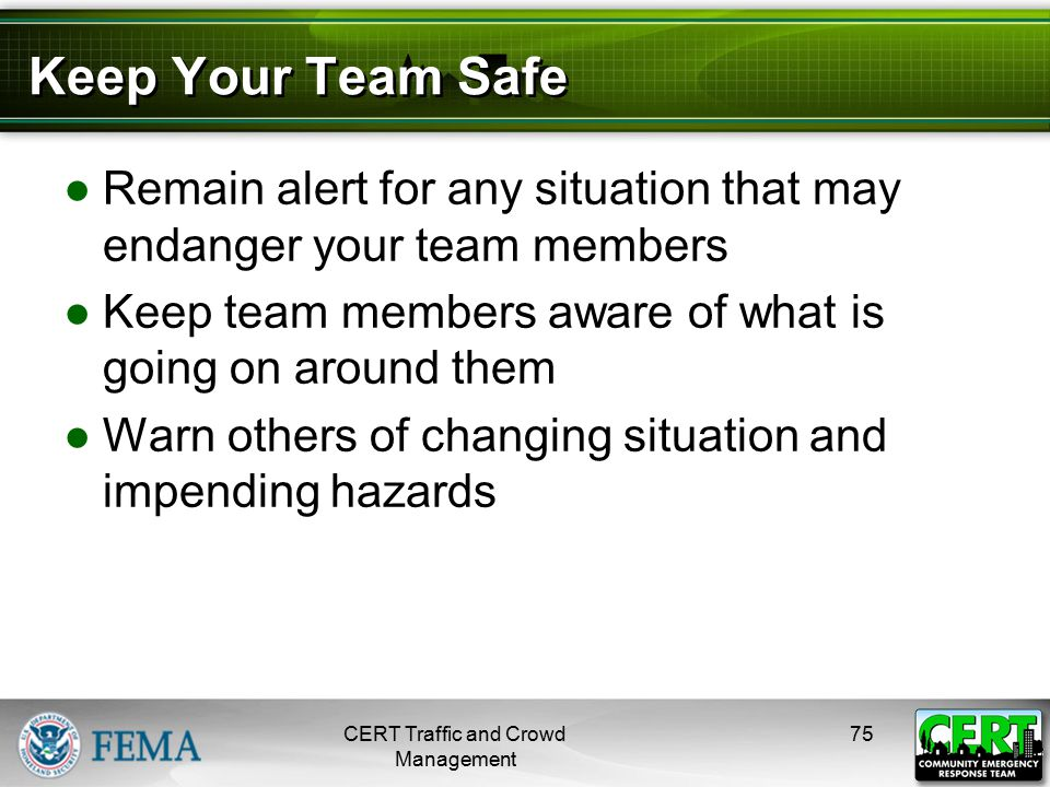 Keep Your Team Safe (cont'd)