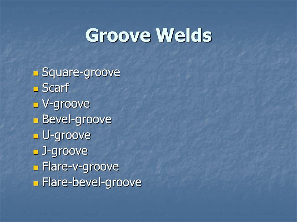 Groove Welds Square-groove Scarf V-groove Bevel-groove U-groove
