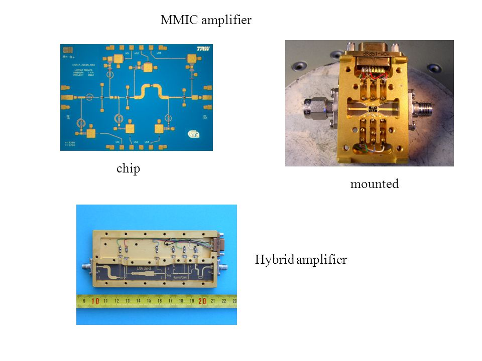 MMIC amplifier chip mounted Hybrid amplifier