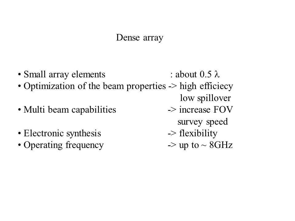 Dense array Small array elements : about 0.5 l. Optimization of the beam properties -> high efficiecy.