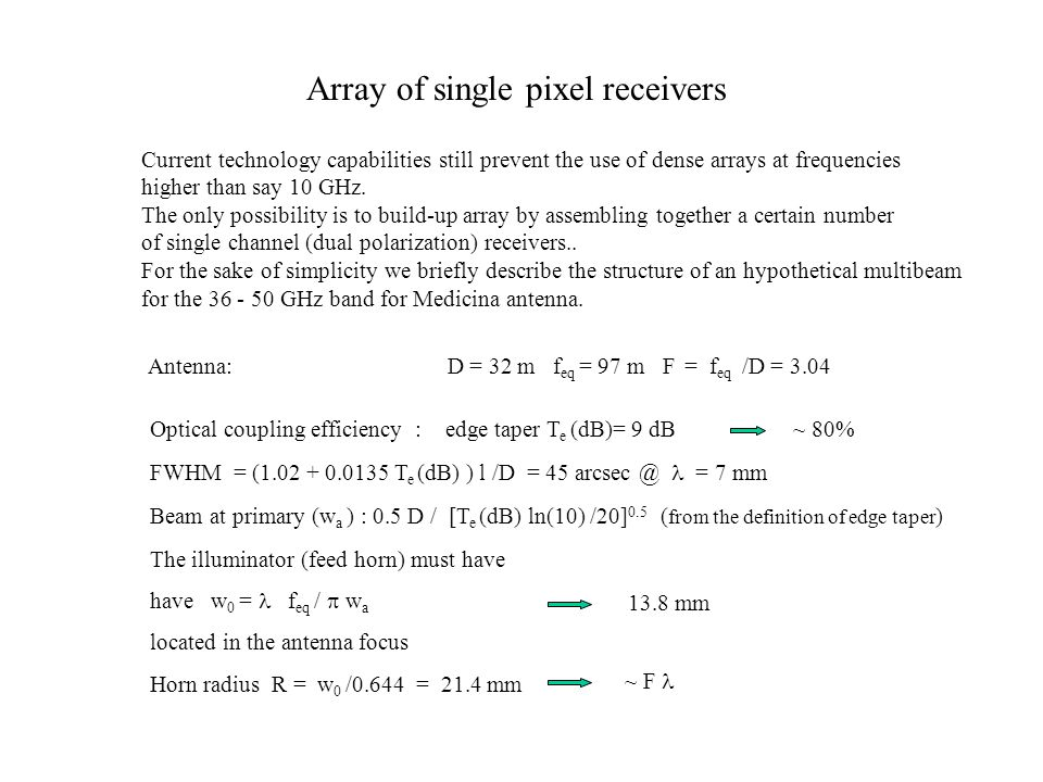 Array of single pixel receivers