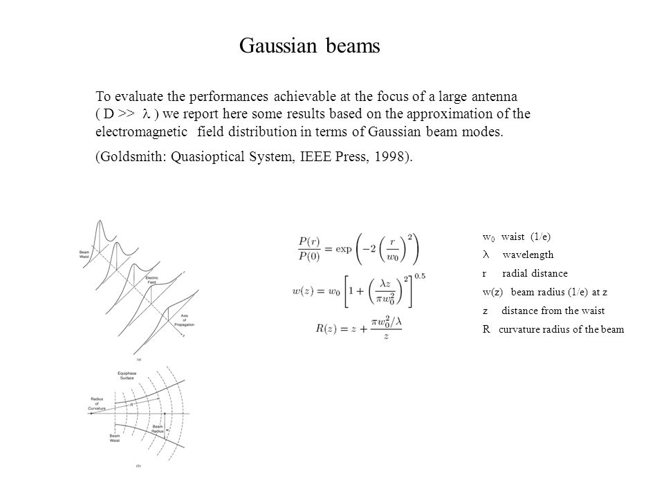 Gaussian beams To evaluate the performances achievable at the focus of a large antenna.