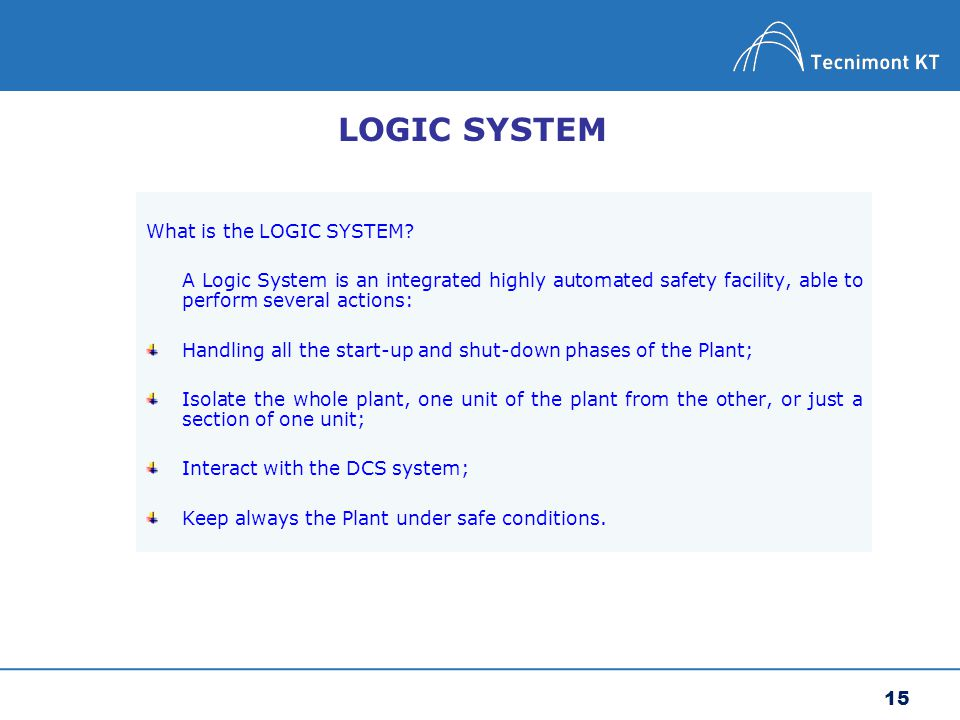 LOGIC SYSTEM What is the LOGIC SYSTEM