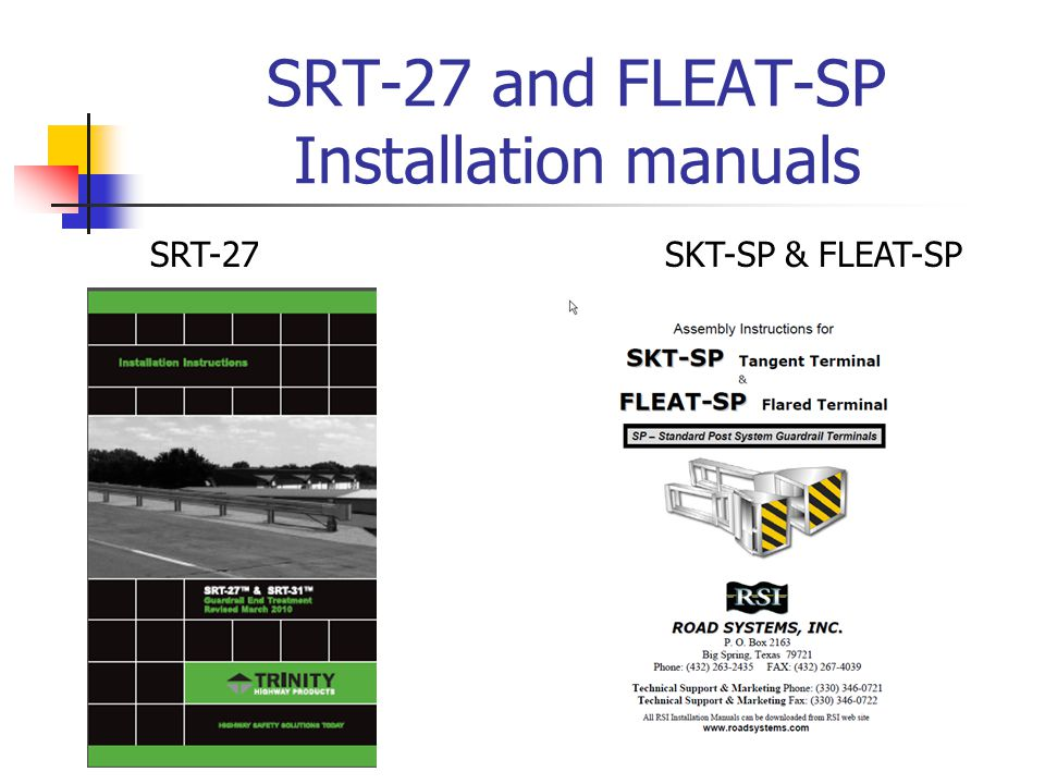 SRT-27 and FLEAT-SP Installation manuals