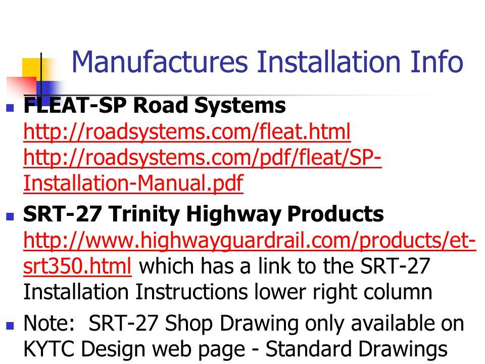 Manufactures Installation Info