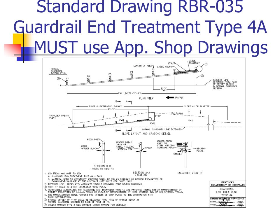 Standard Drawing RBR-035 Guardrail End Treatment Type 4A MUST use App