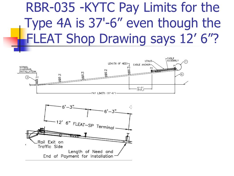 RBR-035 -KYTC Pay Limits for the Type 4A is 37 -6 even though the FLEAT Shop Drawing says 12' 6