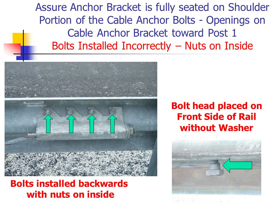 Bolt head placed on Front Side of Rail Bolts installed backwards