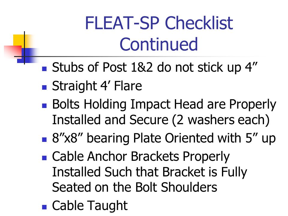 FLEAT-SP Checklist Continued