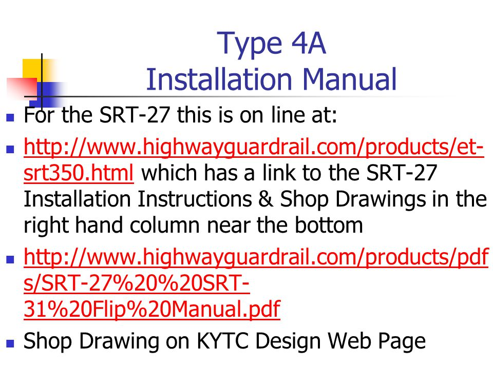 Type 4A Installation Manual