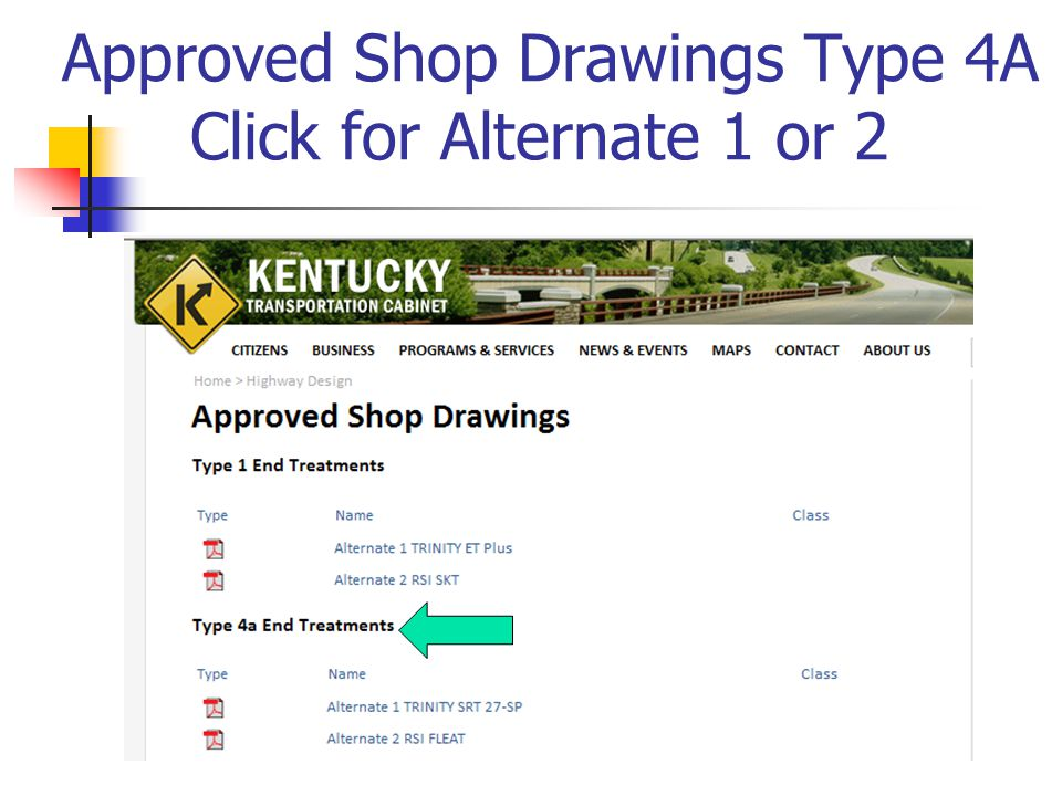 Approved Shop Drawings Type 4A Click for Alternate 1 or 2