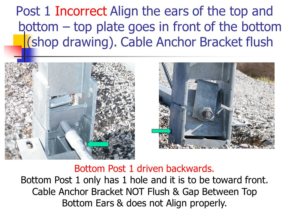 Post 1 Incorrect Align the ears of the top and bottom – top plate goes in front of the bottom (shop drawing). Cable Anchor Bracket flush
