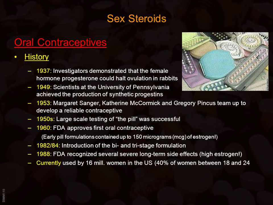 Sex Steroids Oral Contraceptives History