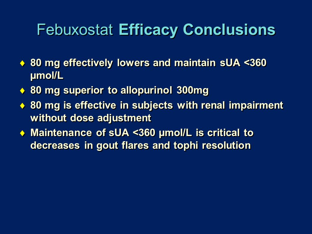 Febuxostat Efficacy Conclusions