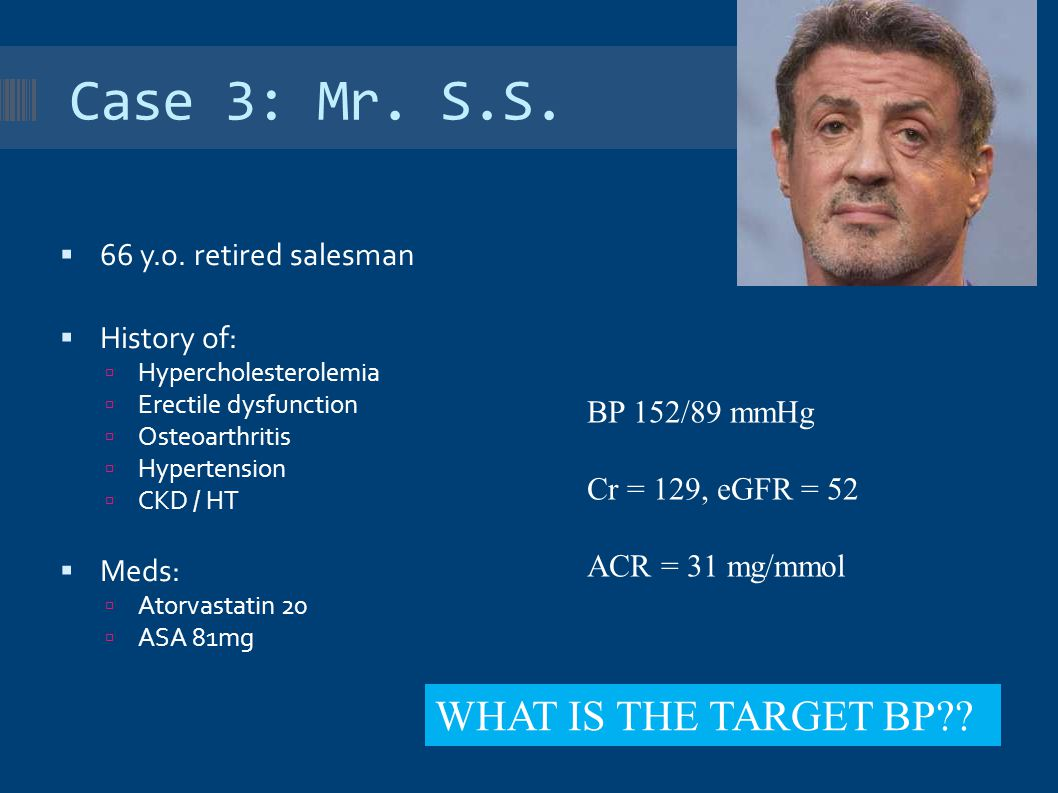 Case 3: Mr. S.S. WHAT IS THE TARGET BP 66 y.o. retired salesman