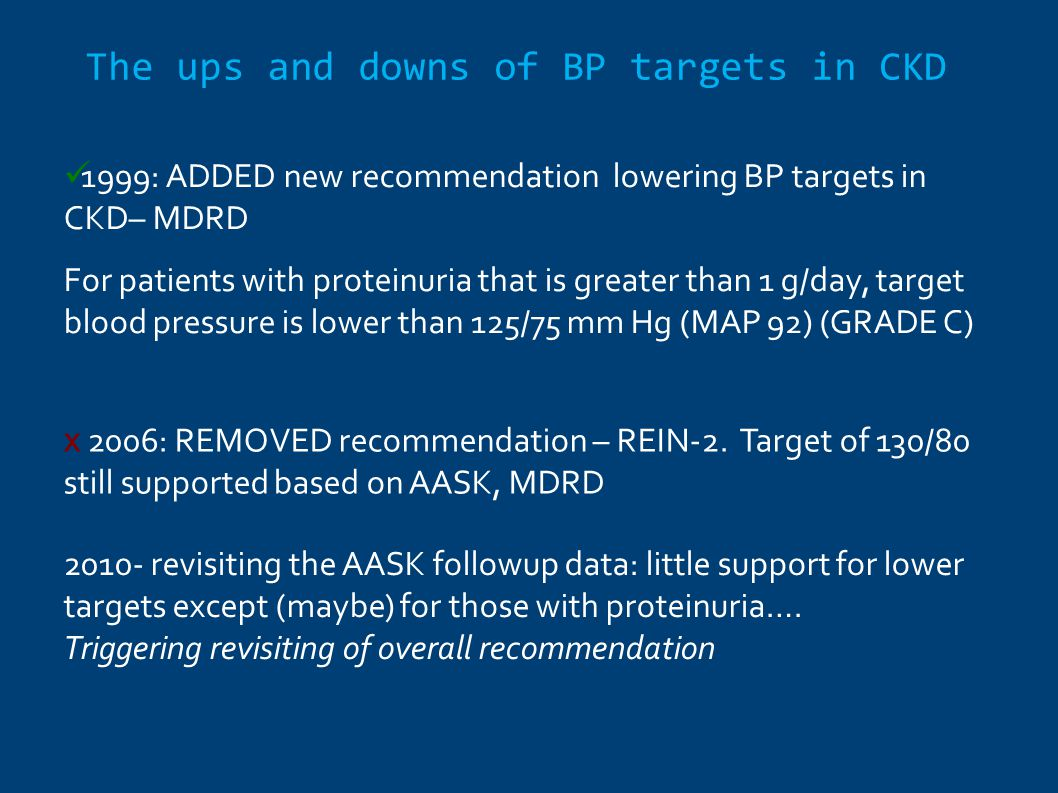 The ups and downs of BP targets in CKD
