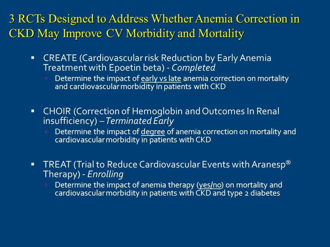 3 RCTs Designed to Address Whether Anemia Correction in CKD May Improve CV Morbidity and Mortality
