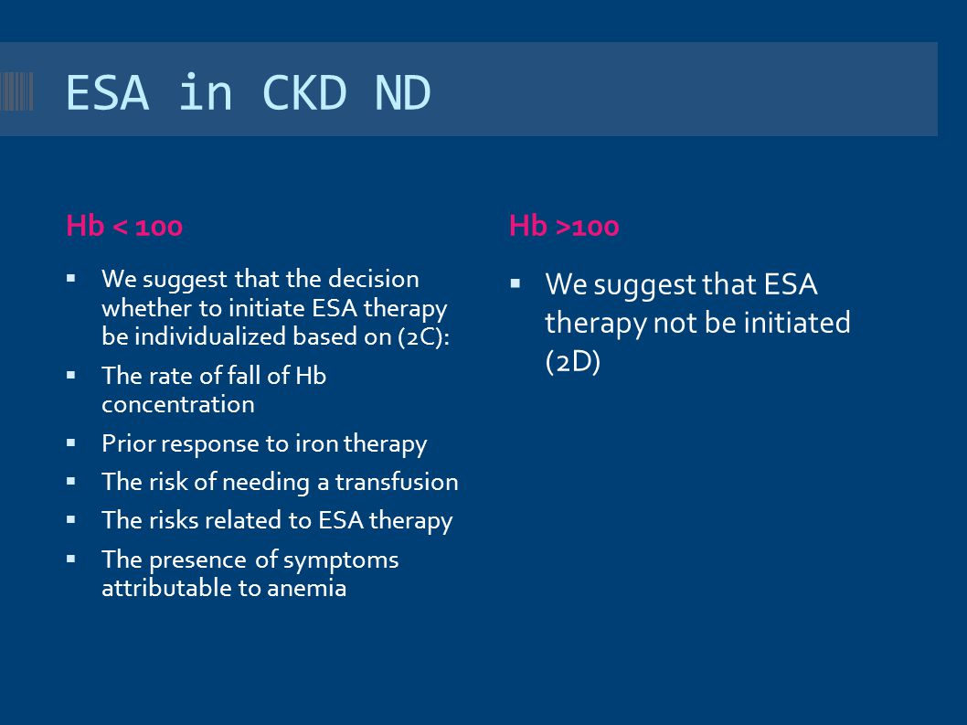 ESA in CKD ND Hb < 100 Hb >100