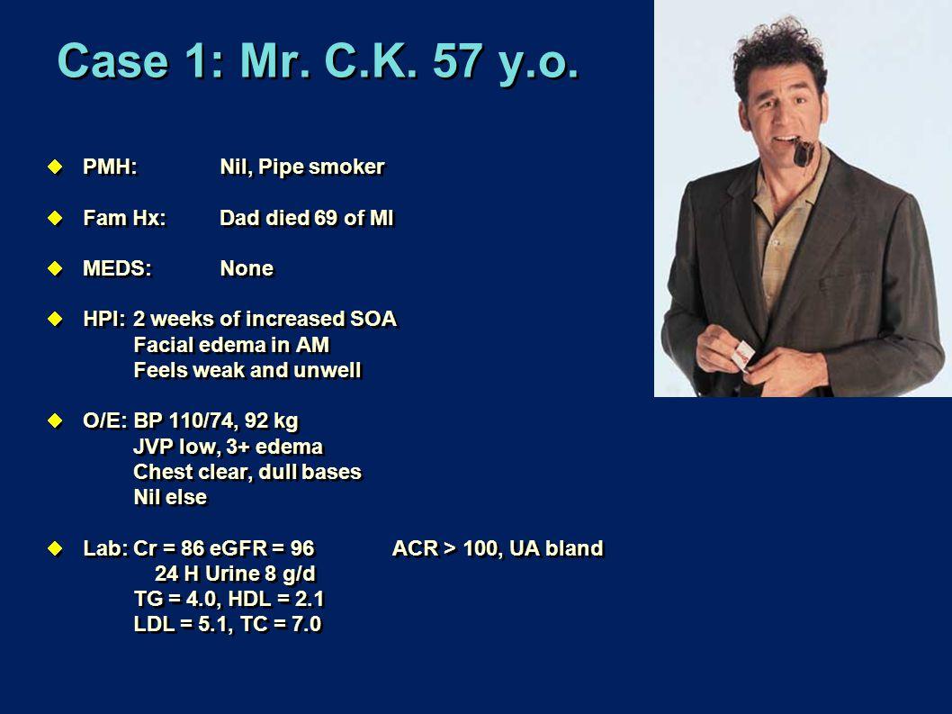Case 1: Mr. C.K. 57 y.o. PMH: Nil, Pipe smoker