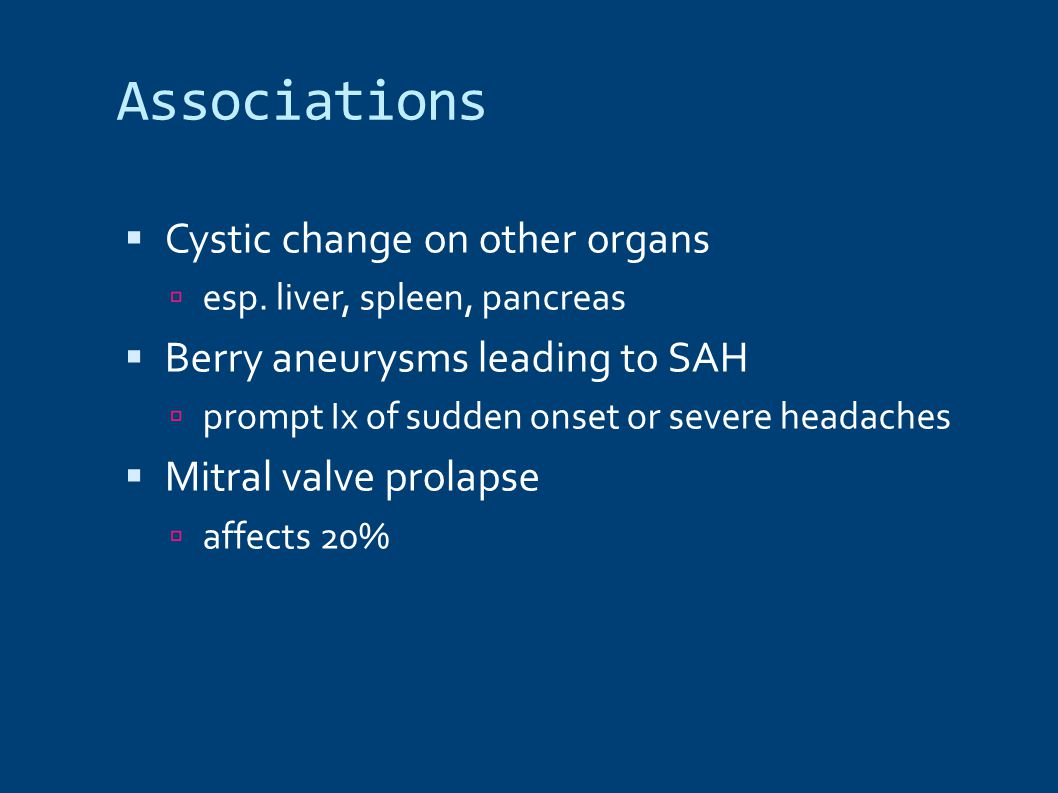 Associations Cystic change on other organs